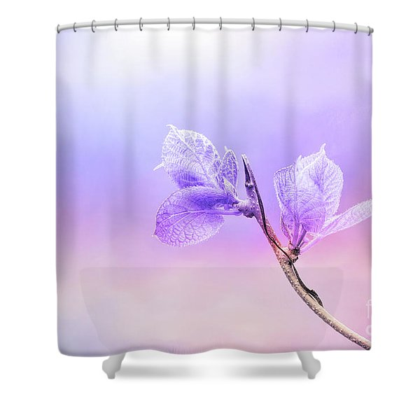 Charming Baby Leaves In Purple Shower Curtain