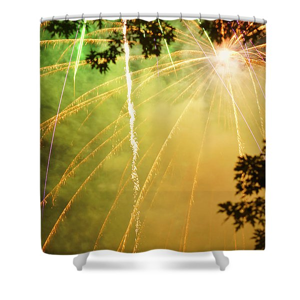 Yellow Fireworks Shower Curtain