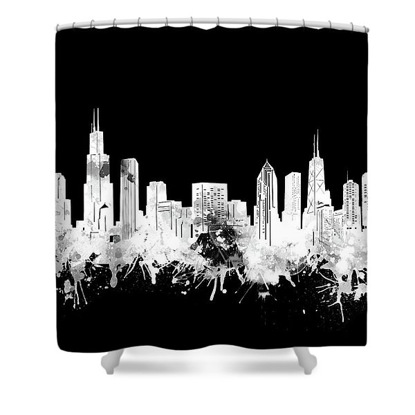 Chicago Skyline Black And White 2 Shower Curtain