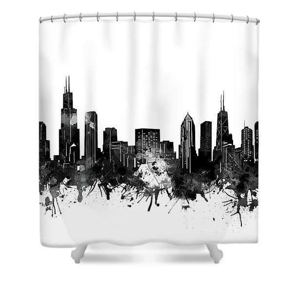 Chicago Skyline Black And White Shower Curtain