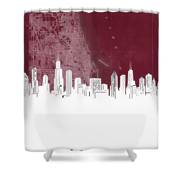 Chicago Skyline Map Red Shower Curtain