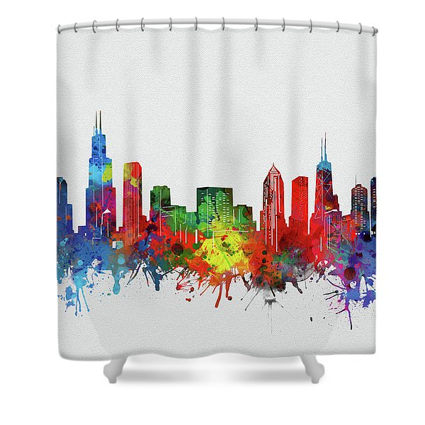 Chicago Skyline Watercolor 2 Shower Curtain