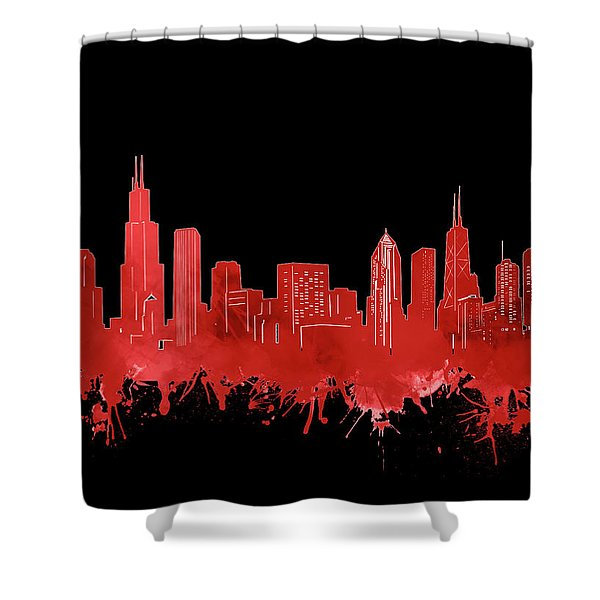 Chicago Skyline Watercolor 5 Shower Curtain