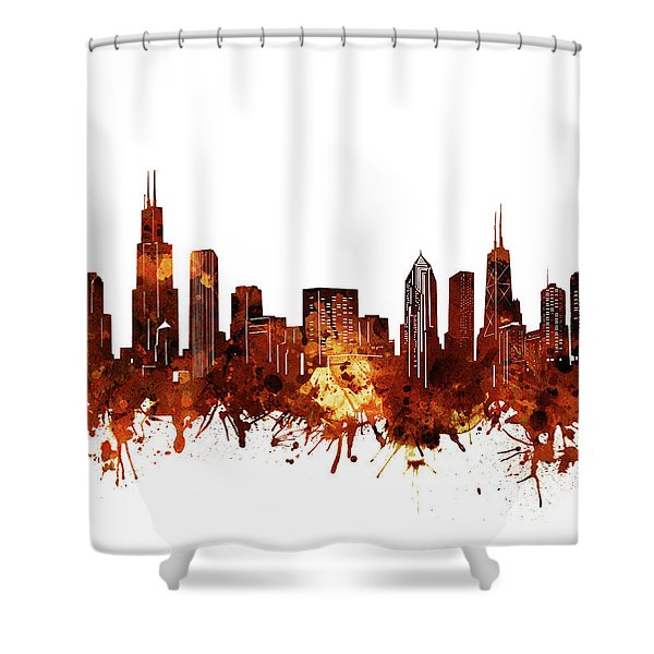 Chicago Skyline Watercolor 6 Shower Curtain