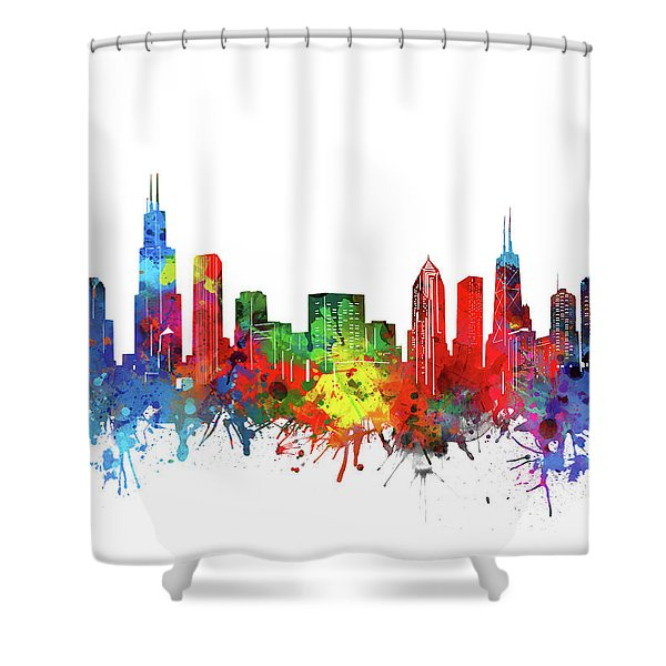 Chicago Skyline Watercolor Shower Curtain