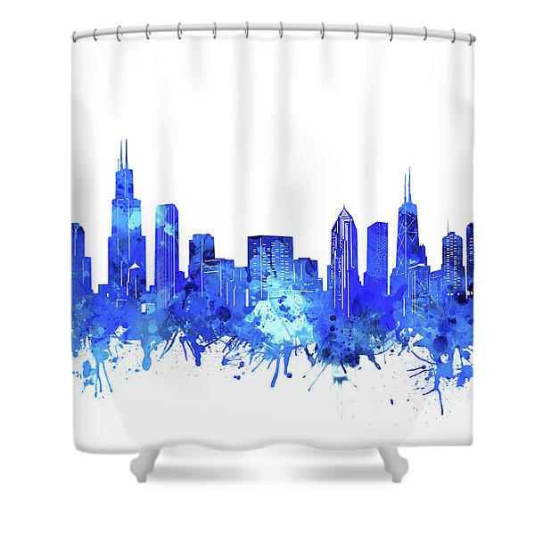 Chicago Skyline Watercolor Blue Shower Curtain
