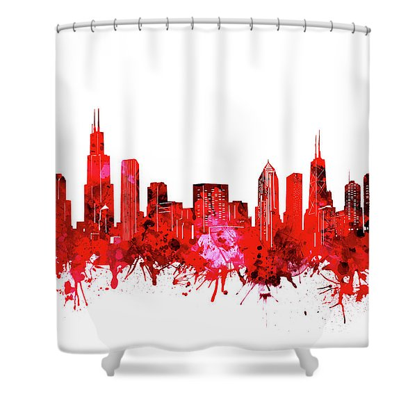 Chicago Skyline Watercolor Red Shower Curtain
