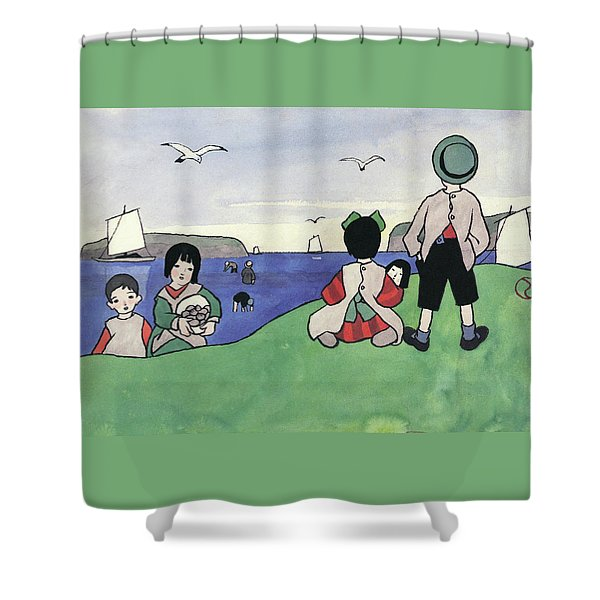 Child Watching The Sea - Digital Remastered Edition Shower Curtain