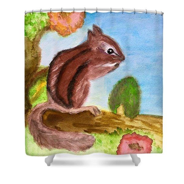 Chipmunk By Dee Shower Curtain