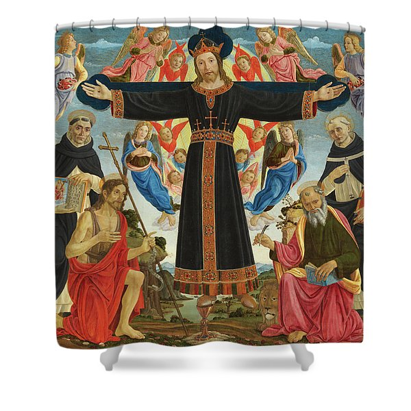 Christ On The Cross With Saints Vincent Ferrer, John The Baptist, Mark And Antoninus, 1495 Shower Curtain