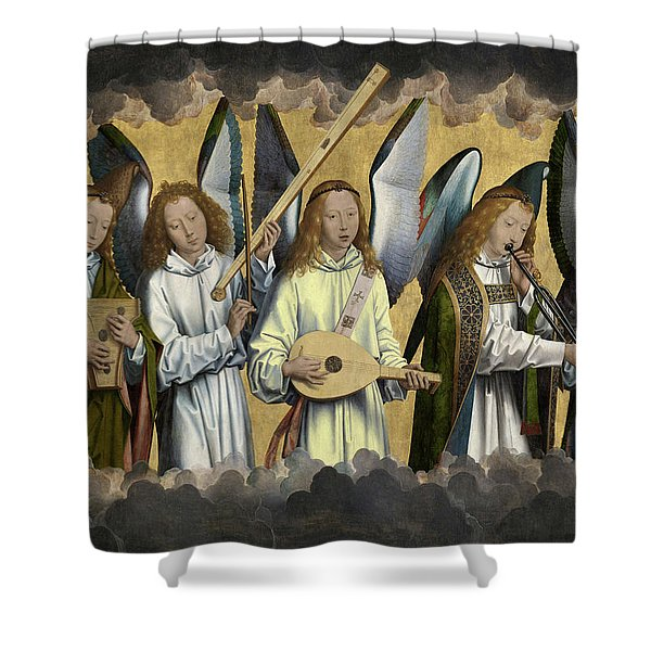 Christ With Singing And Music-making Angels - Panel 3 Shower Curtain