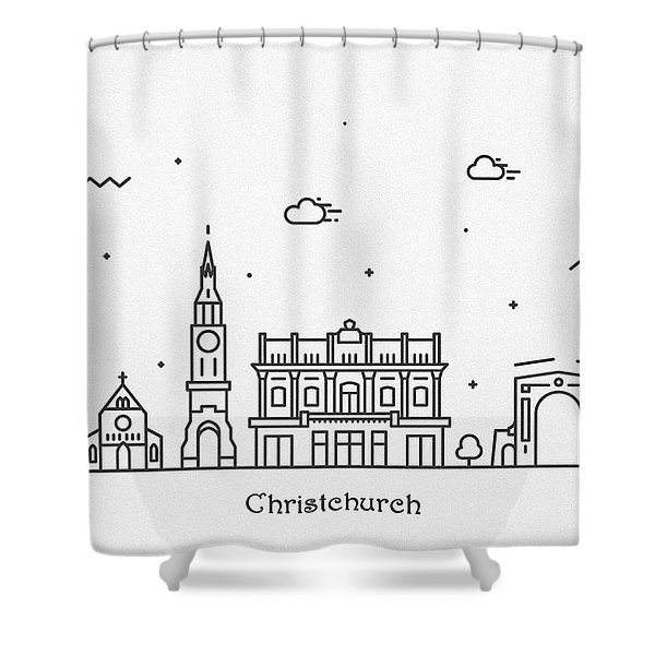 Christchurch Cityscape Travel Poster Shower Curtain
