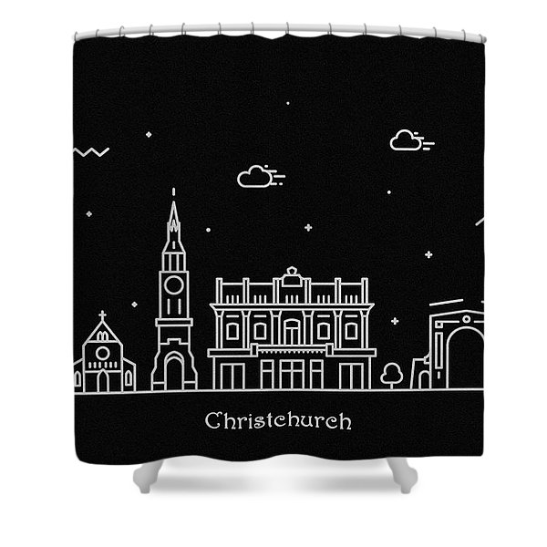 Christchurch Skyline Travel Poster Shower Curtain