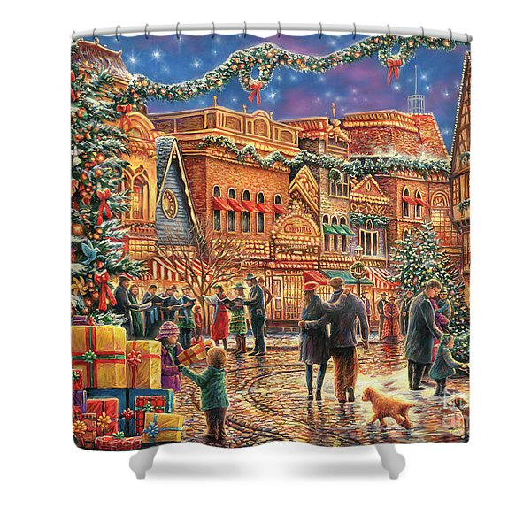 Christmas At Town Square Shower Curtain