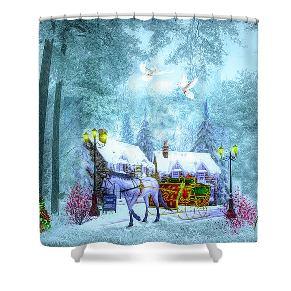 Christmas Buggy Ride Shower Curtain