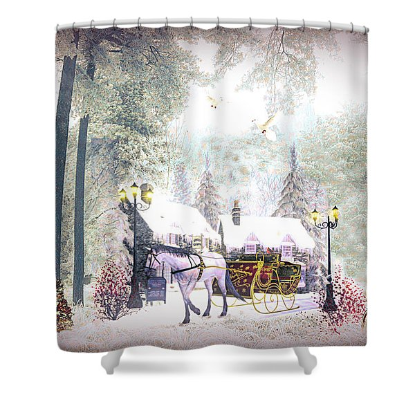 Christmas Buggy Ride Painting Shower Curtain