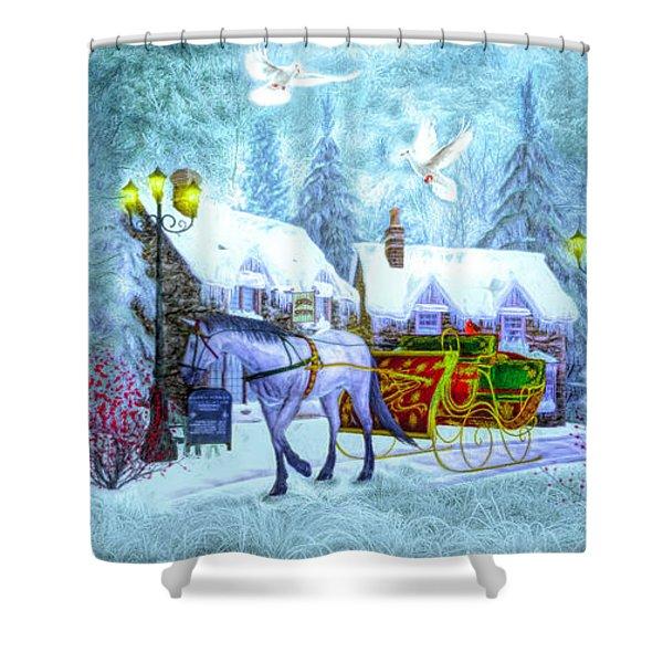 Christmas Buggy Ride Panorama Shower Curtain