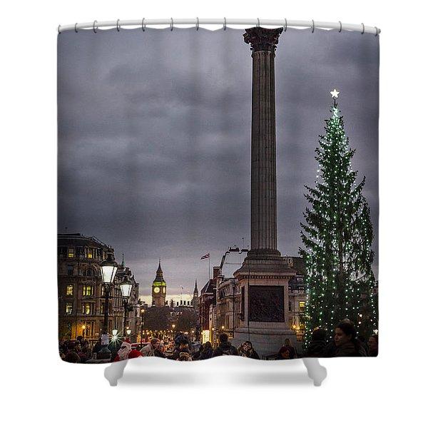 Christmas In Trafalgar Square, London Shower Curtain