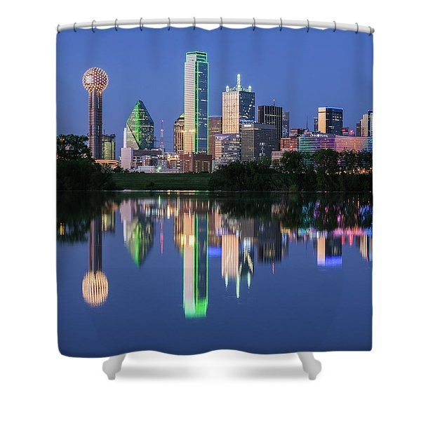 Shower Curtain featuring the photograph City Of Dallas, Texas Reflection by Robert Bellomy