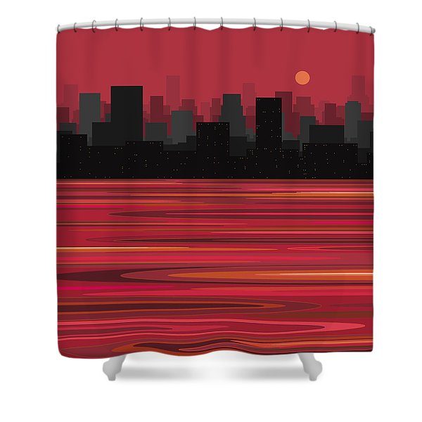 City On The Water Shower Curtain
