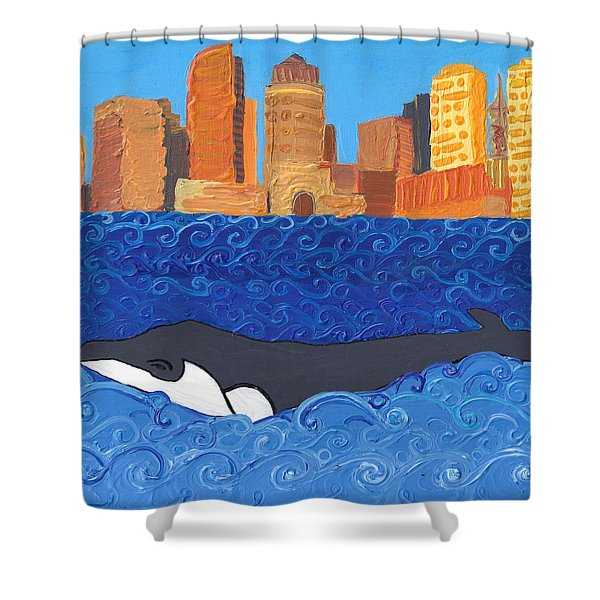 City Whale Shower Curtain