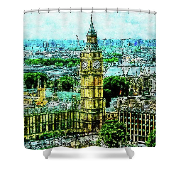Cityscape Watercolor Drawing - Big Ben In London City Shower Curtain