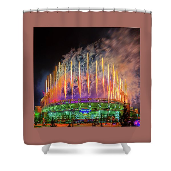Cleveland Baseball Fireworks Awesome Shower Curtain