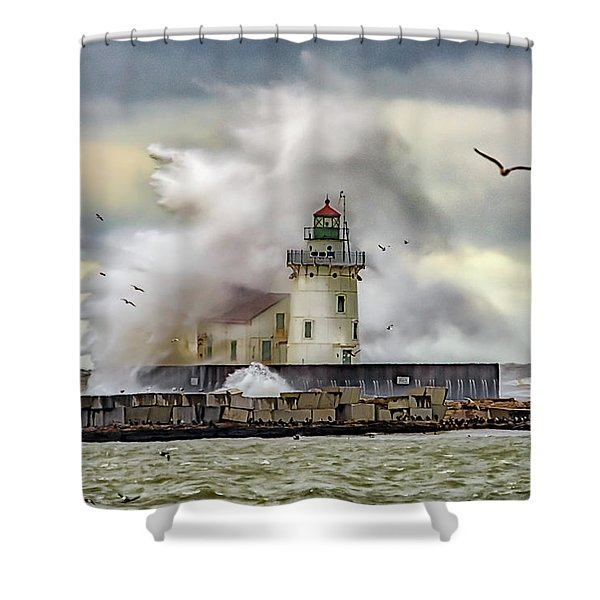 Cleveland Lighthouse Storm  Shower Curtain