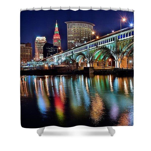 Cleveland Ohio Skyline Reflects Colorfully Shower Curtain