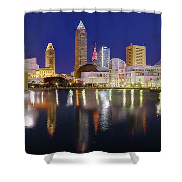 Cleveland Skyline At Dusk Rock Roll Hall Fame Shower Curtain