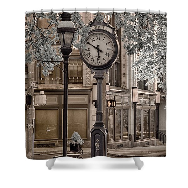 Clock On Street Shower Curtain