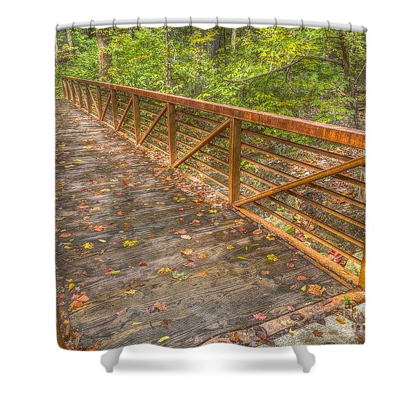 Close Up Of Bridge At Pine Quarry Park Shower Curtain