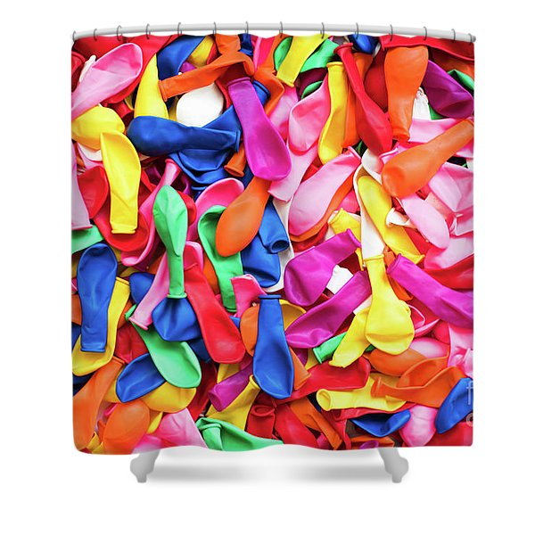 Close-up Of Many Colorful Children's Balloons, Background For Mo Shower Curtain