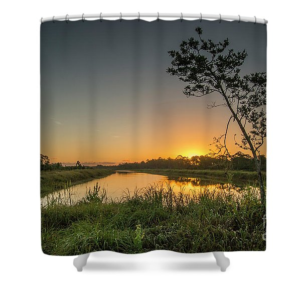 Shower Curtain featuring the photograph Cloudless Hungryland Sunrise by Tom Claud