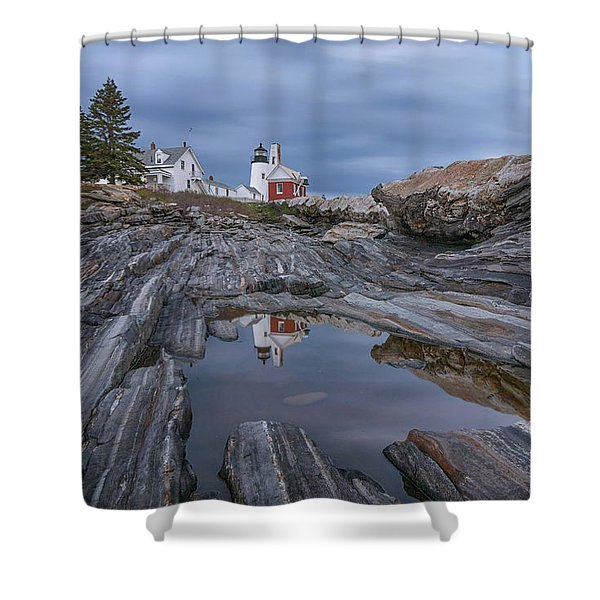 Cloudy Afternoon At Pemaquid Point Shower Curtain