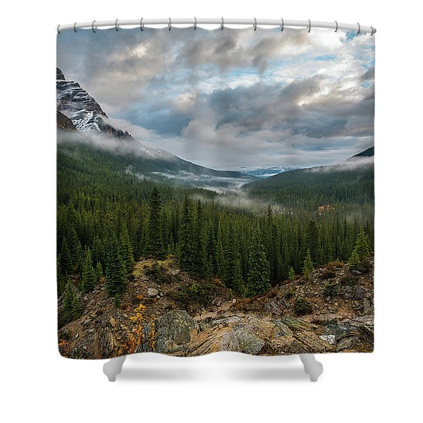 Cloudy Morning In The Canadian Rockies Shower Curtain