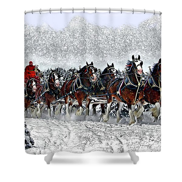 Clydesdales Hitch In Snow Shower Curtain