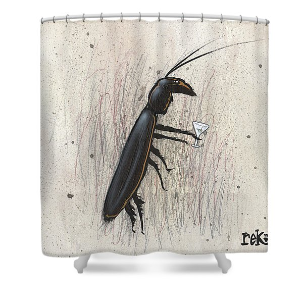 Cockroach With Martini Shower Curtain