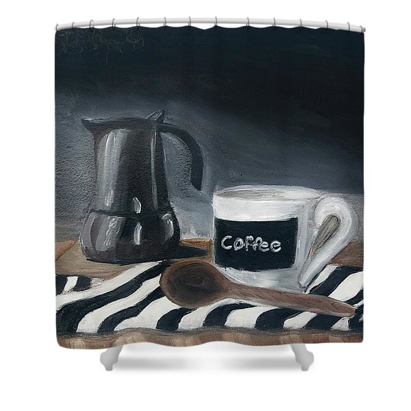 Shower Curtain featuring the painting Coffee Time by Fe Jones