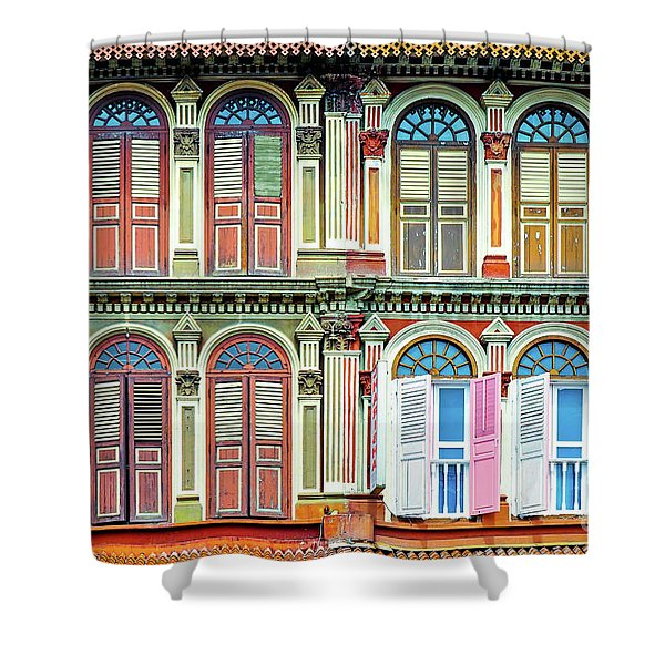 Colonial Architecture In Singapore Shower Curtain