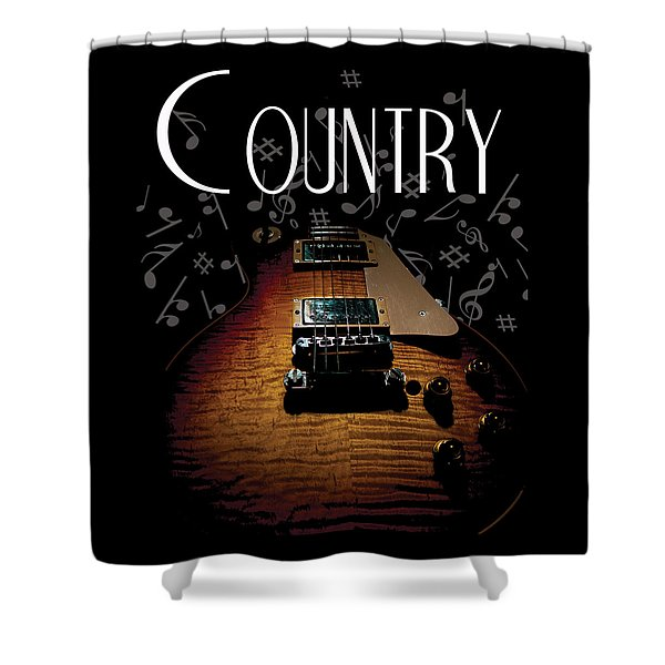 Color Country Music Guitar Notes Shower Curtain