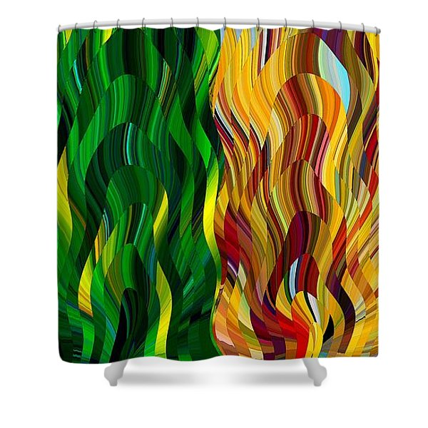 Colored Fire Shower Curtain