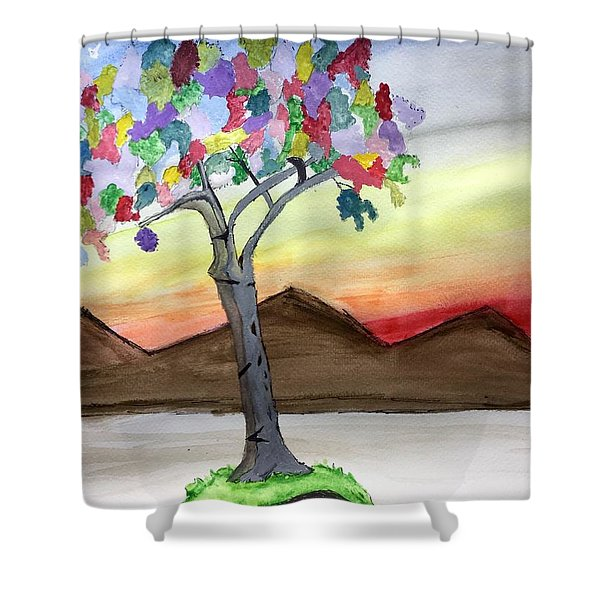Colored Tree Shower Curtain