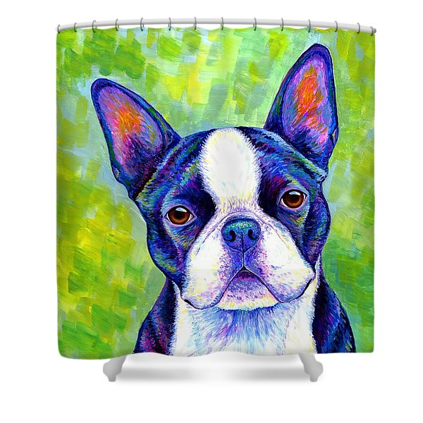 Colorful Boston Terrier Dog Shower Curtain