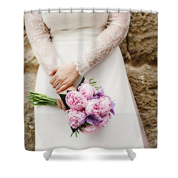 Colorful Bridal Bouquets With Flowers Shower Curtain