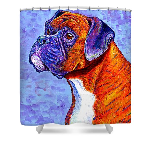 Colorful Brindle Boxer Dog Shower Curtain