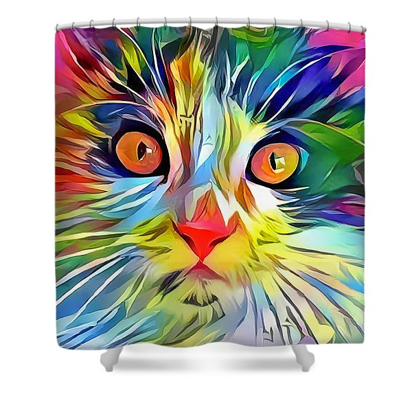 Colorful Calico Cat Shower Curtain