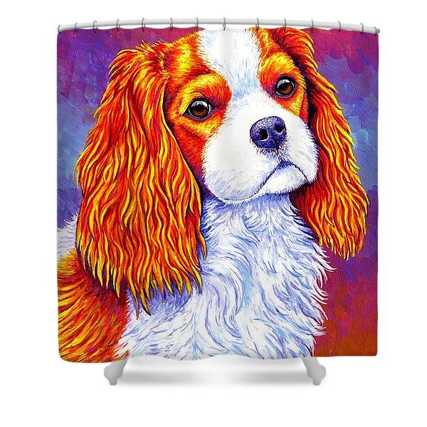Colorful Cavalier King Charles Spaniel Dog Shower Curtain