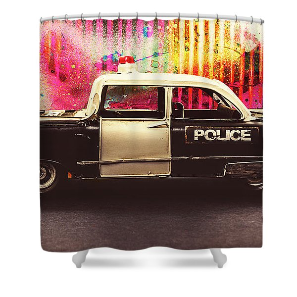 Colorful Crime  Shower Curtain