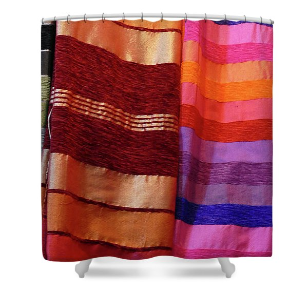 Colorful Fabrics In The Medina Market  Shower Curtain